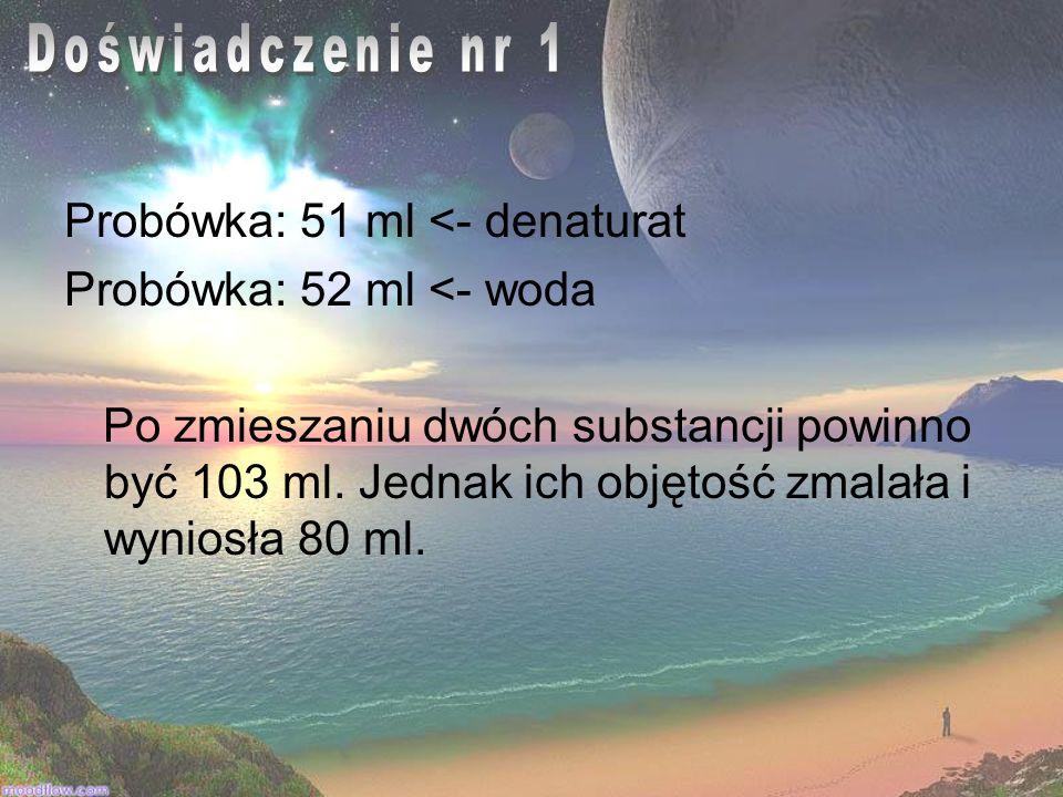 Probówka: 51 ml <- denaturat Probówka: 52 ml <- woda Po zmieszaniu dwóch substancji powinno być 103 ml. Jednak ich objętość zmalała i wyniosła 80 ml.