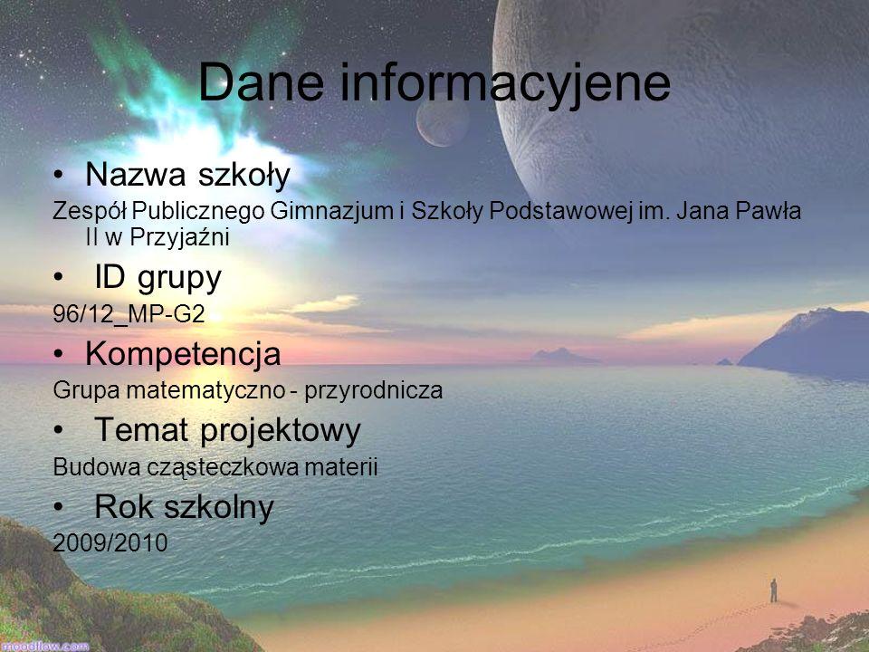 Dane informacyjene Nazwa szkoły Zespół Publicznego Gimnazjum i Szkoły Podstawowej im. Jana Pawła II w Przyjaźni ID grupy 96/12_MP-G2 Kompetencja Grupa