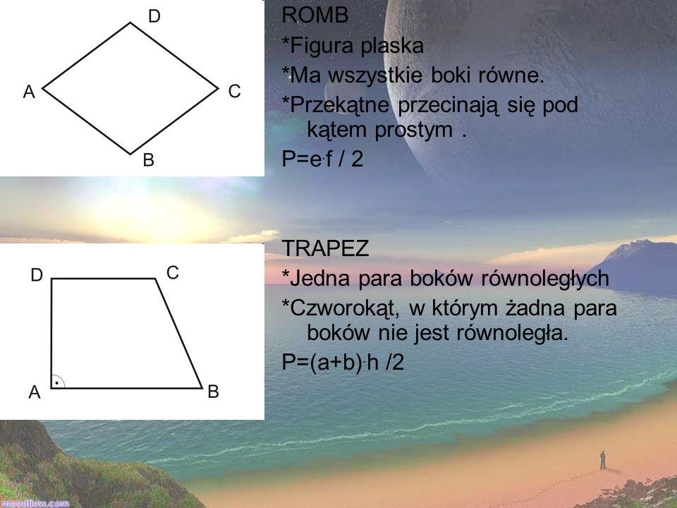 ROMB *Figura plaska *Ma wszystkie boki równe. *Przekątne przecinają się pod kątem prostym. P=e. f / 2 TRAPEZ *Jedna para boków równoległych *Czworokąt