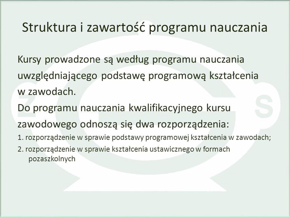 Struktura i zawartość programu nauczania Kursy prowadzone są według programu nauczania uwzględniającego podstawę programową kształcenia w zawodach. Do