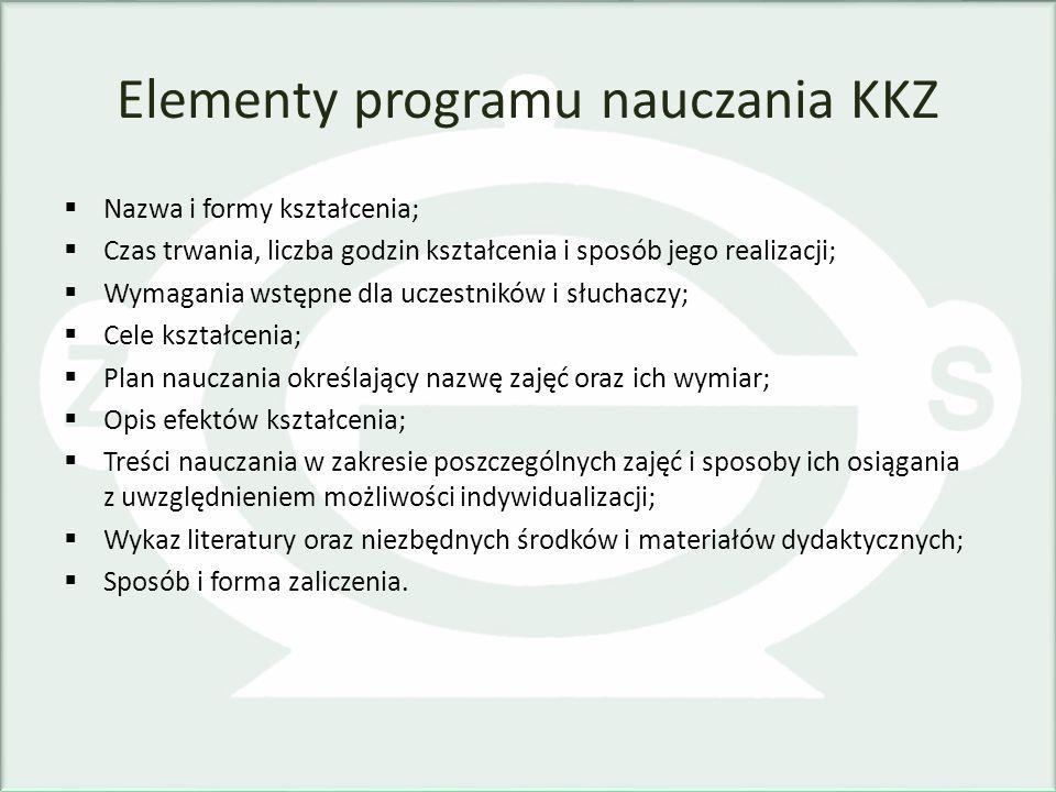 Elementy programu nauczania KKZ Nazwa i formy kształcenia; Czas trwania, liczba godzin kształcenia i sposób jego realizacji; Wymagania wstępne dla ucz
