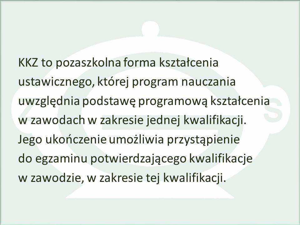 KKZ to pozaszkolna forma kształcenia ustawicznego, której program nauczania uwzględnia podstawę programową kształcenia w zawodach w zakresie jednej kw