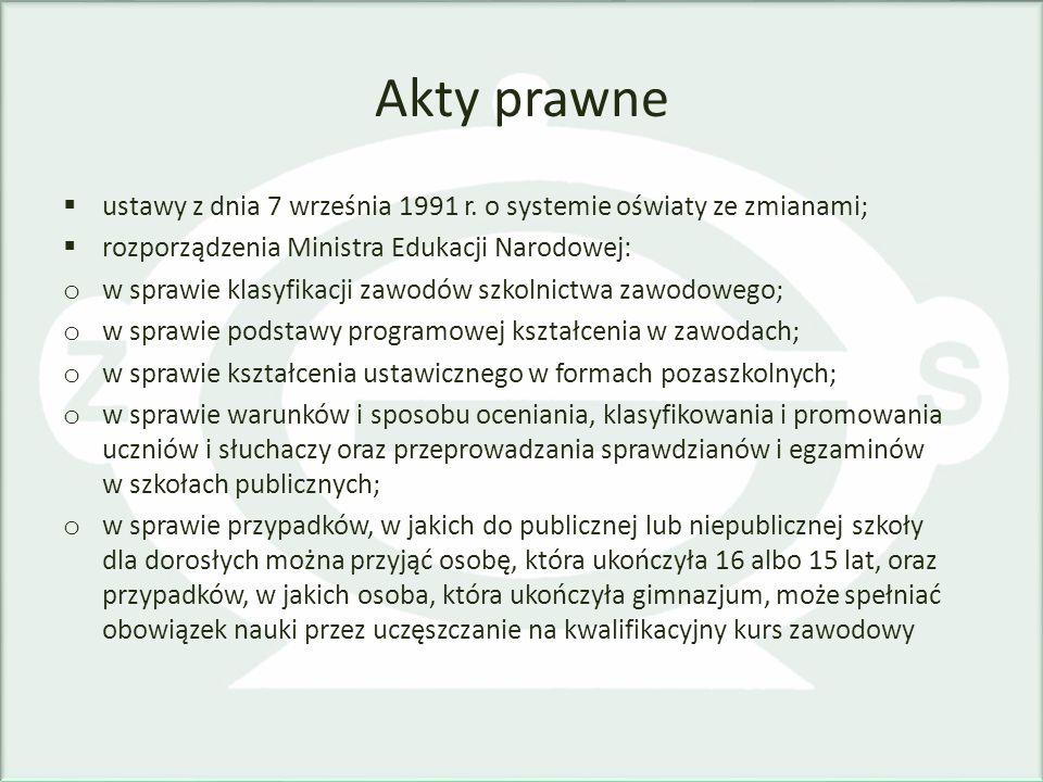 Akty prawne ustawy z dnia 7 września 1991 r. o systemie oświaty ze zmianami; rozporządzenia Ministra Edukacji Narodowej: o w sprawie klasyfikacji zawo