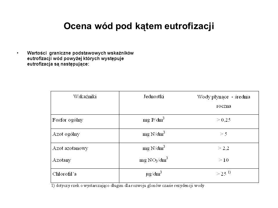 Ocena wód pod kątem eutrofizacji Wartości graniczne podstawowych wskaźników eutrofizacji wód powyżej których występuje eutrofizacja są następujące: