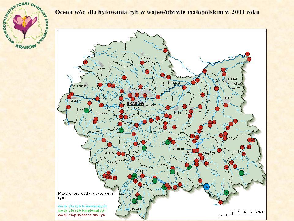 Ocena wód dla bytowania ryb w województwie małopolskim w 2004 roku