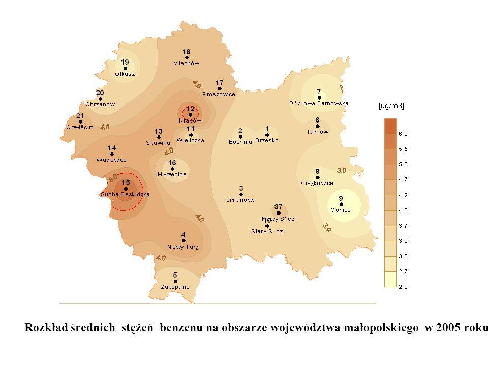 Rozkład średnich stężeń benzenu na obszarze województwa małopolskiego w 2005 roku.