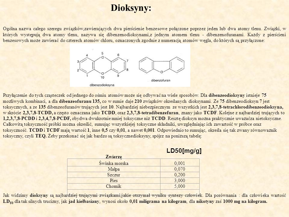 Dioksyny: Ogólna nazwa całego szeregu związków,zawierających dwa pierścienie benzesowe połączone poprzez jeden lub dwa atomy tlenu. Związki, w których