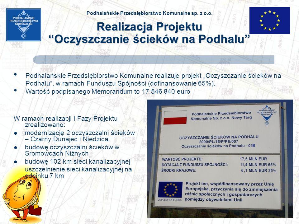 Podhalańskie Przedsiębiorstwo Komunalne sp. z o.o. Realizacja Projektu Oczyszczanie ścieków na Podhalu W ramach realizacji I Fazy Projektu zrealizowan