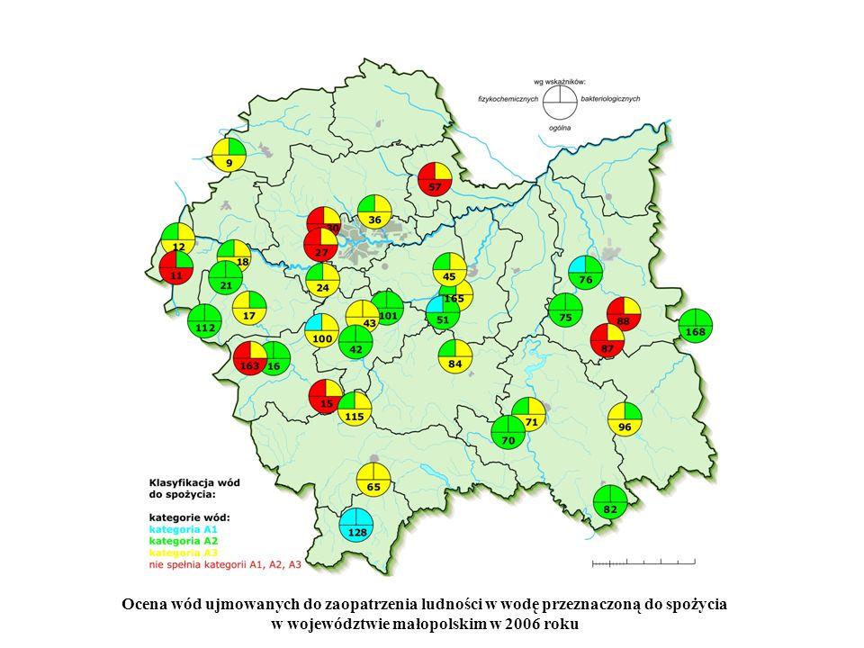 Ocena wód ujmowanych do zaopatrzenia ludności w wodę przeznaczoną do spożycia w województwie małopolskim w 2006 roku