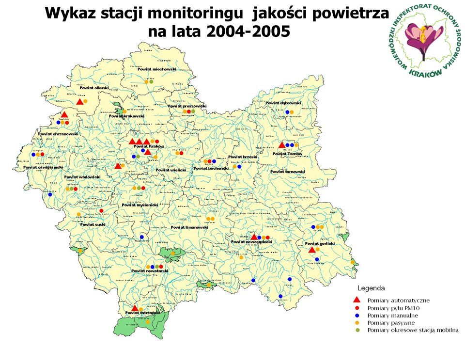 Wykaz stacji monitoringu jakości powietrza na lata 2004-2005