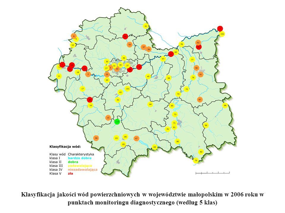 Klasyfikacja jakości wód powierzchniowych w województwie małopolskim w 2006 roku w punktach monitoringu diagnostycznego (według 5 klas)