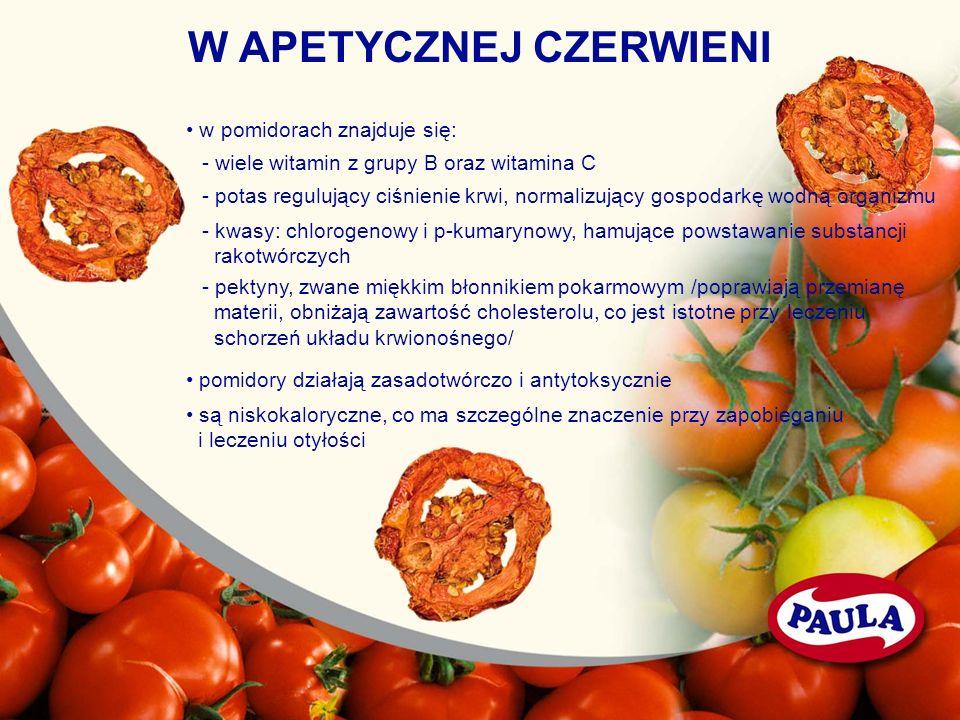 W APETYCZNEJ CZERWIENI w pomidorach znajduje się: - wiele witamin z grupy B oraz witamina C - potas regulujący ciśnienie krwi, normalizujący gospodark