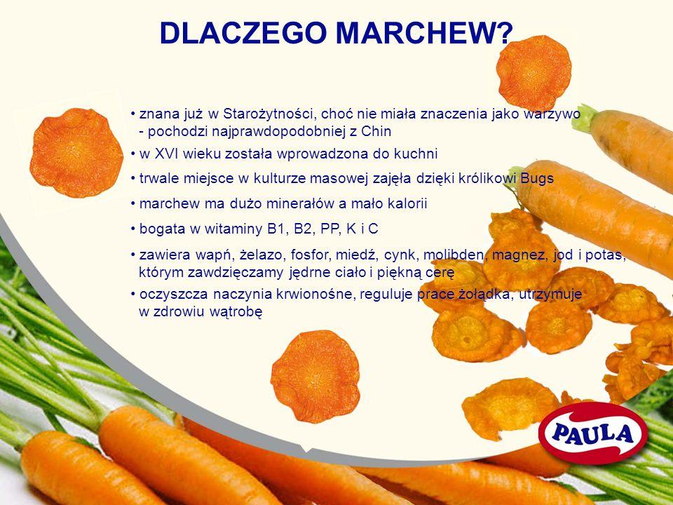 DLACZEGO MARCHEW? znana już w Starożytności, choć nie miała znaczenia jako warzywo - pochodzi najprawdopodobniej z Chin w XVI wieku została wprowadzon