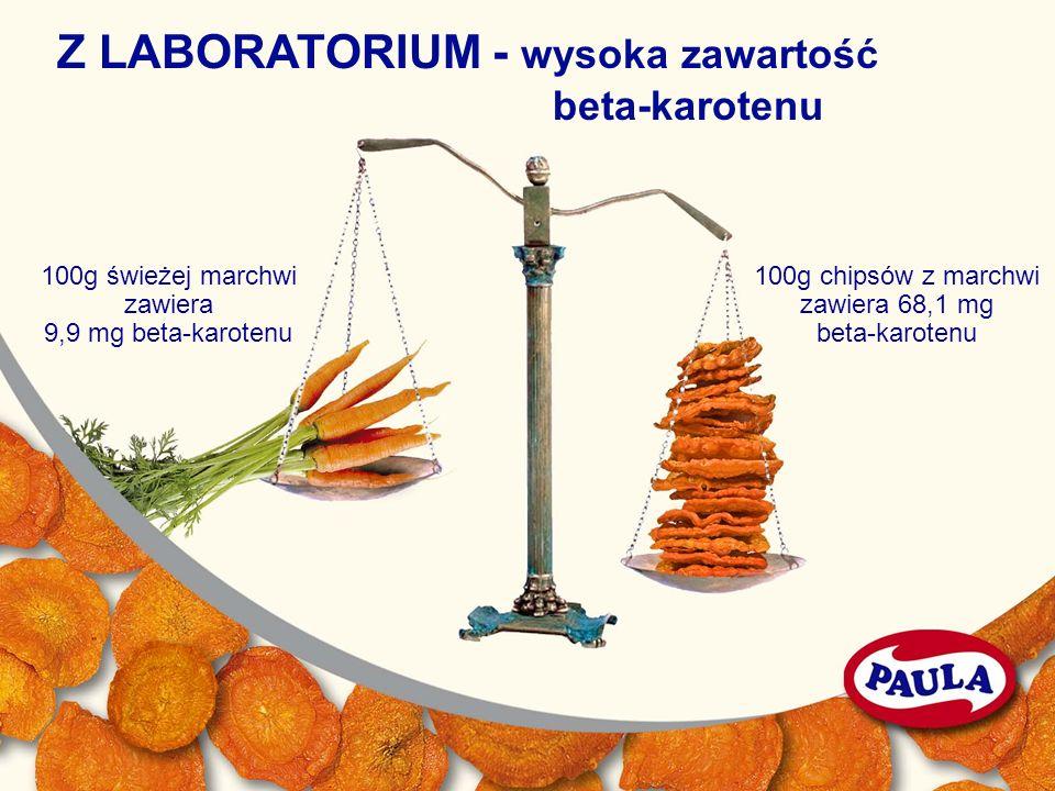 100g świeżej marchwi zawiera 9,9 mg beta-karotenu 100g chipsów z marchwi zawiera 68,1 mg beta-karotenu Z LABORATORIUM - wysoka zawartość beta-karotenu