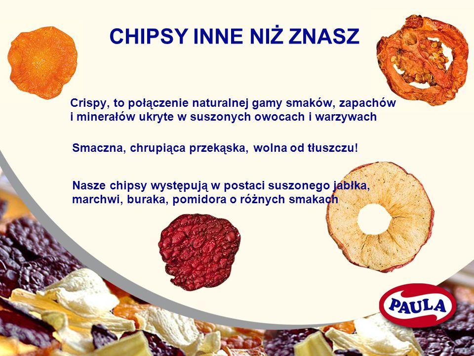 CHIPSY INNE NIŻ ZNASZ Crispy, to połączenie naturalnej gamy smaków, zapachów i minerałów ukryte w suszonych owocach i warzywach Smaczna, chrupiąca prz