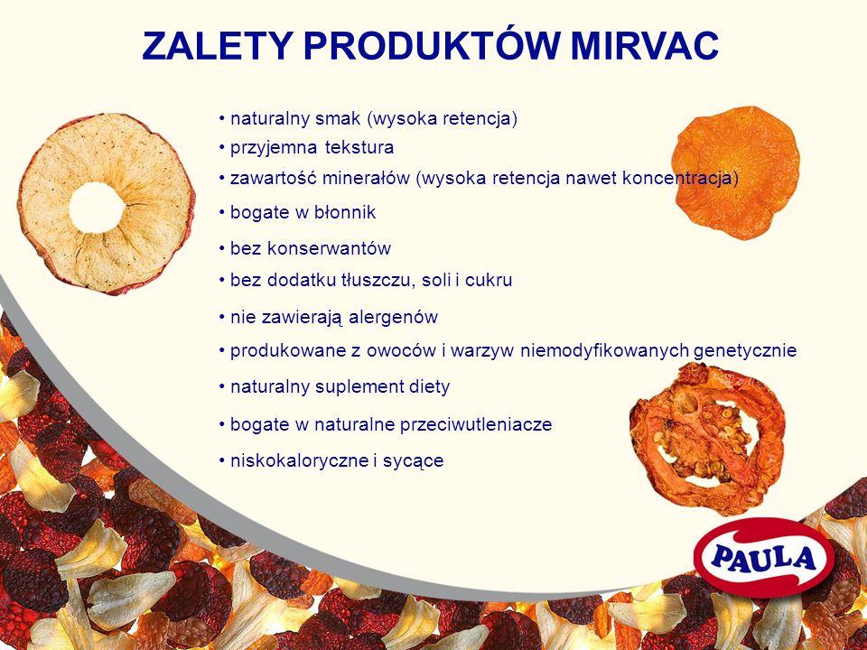 zawartość minerałów (wysoka retencja nawet koncentracja) przyjemna tekstura bogate w błonnik bez konserwantów bez dodatku tłuszczu, soli i cukru nie z