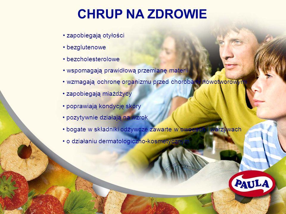 CHRUP NA ZDROWIE zapobiegają otyłości bezglutenowe bezcholesterolowe wspomagają prawidłową przemianę materii wzmagają ochronę organizmu przed chorobam