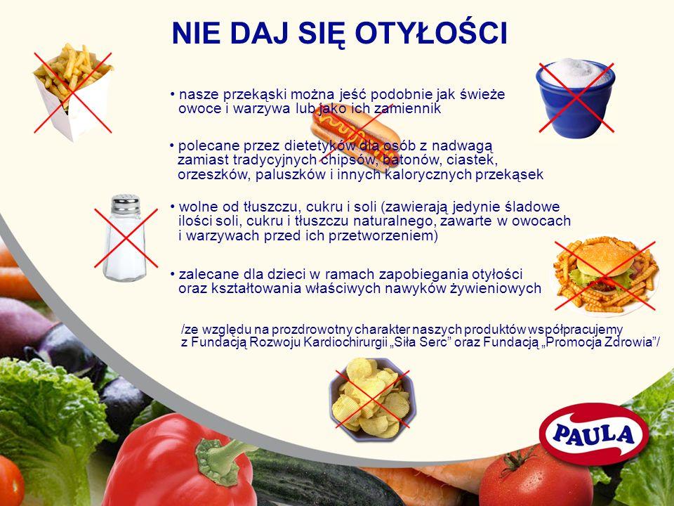 NIE DAJ SIĘ OTYŁOŚCI nasze przekąski można jeść podobnie jak świeże owoce i warzywa lub jako ich zamiennik polecane przez dietetyków dla osób z nadwag