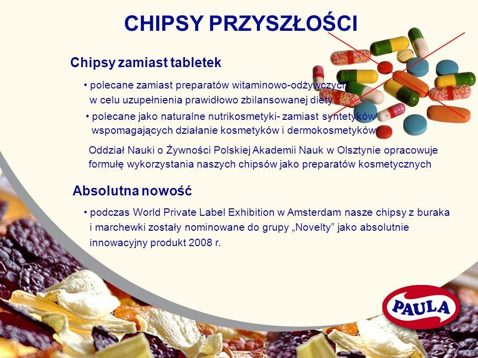 CHIPSY PRZYSZŁOŚCI Chipsy zamiast tabletek polecane zamiast preparatów witaminowo-odżywczych w celu uzupełnienia prawidłowo zbilansowanej diety poleca