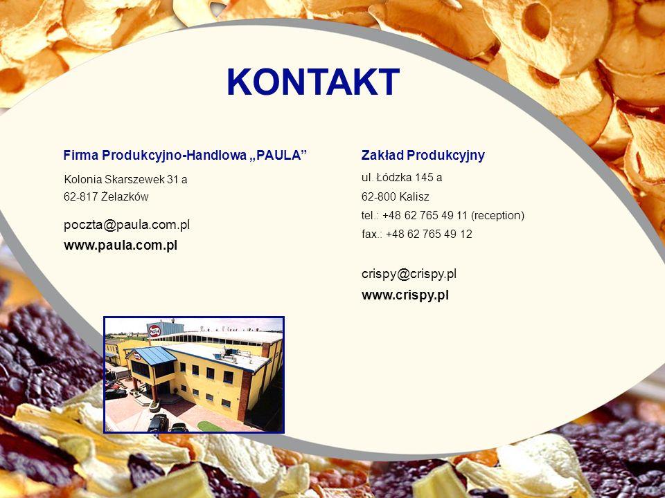 Zakład Produkcyjny ul. Łódzka 145 a 62-800 Kalisz tel.: +48 62 765 49 11 (reception) fax.: +48 62 765 49 12 crispy@crispy.pl www.crispy.pl Firma Produ