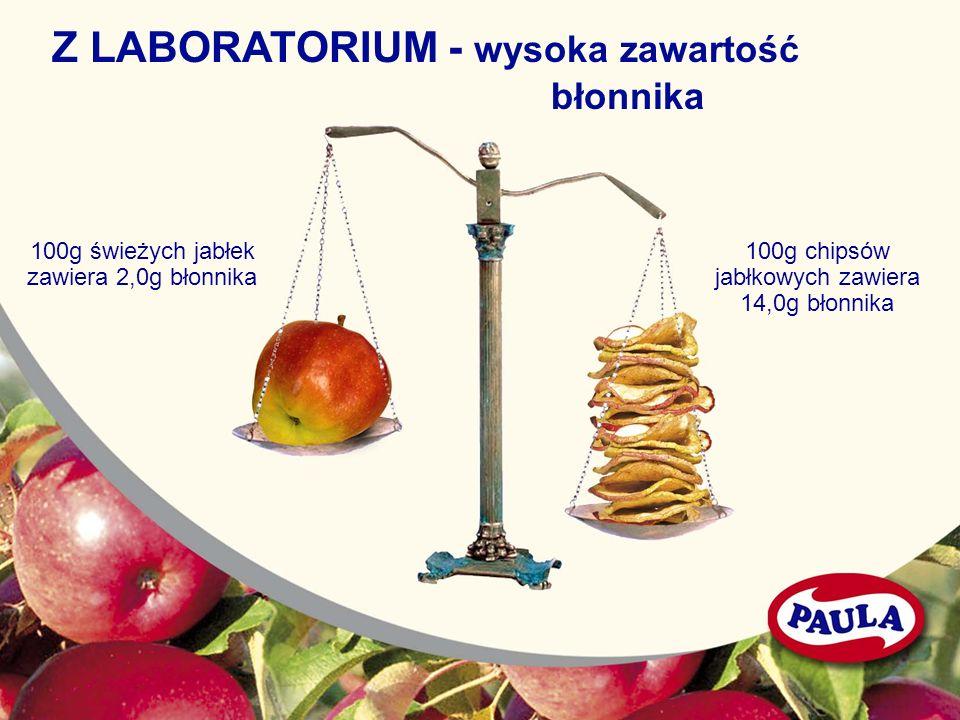 Z LABORATORIUM - wysoka zawartość błonnika 100g świeżych jabłek zawiera 2,0g błonnika 100g chipsów jabłkowych zawiera 14,0g błonnika