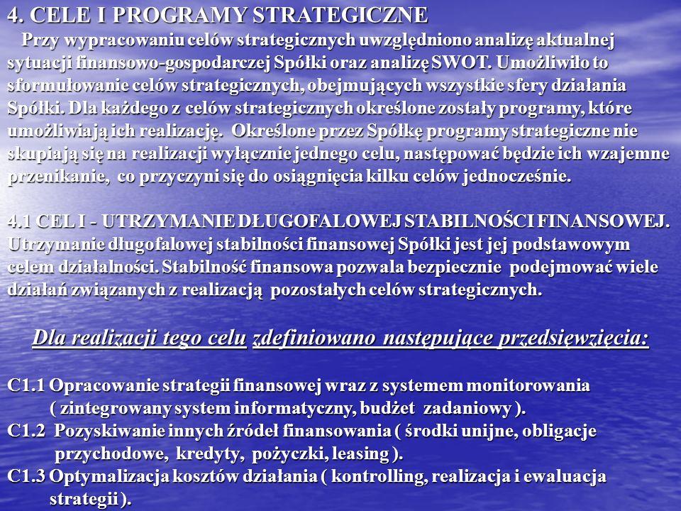 4. CELE I PROGRAMY STRATEGICZNE Przy wypracowaniu celów strategicznych uwzględniono analizę aktualnej sytuacji finansowo-gospodarczej Spółki oraz anal