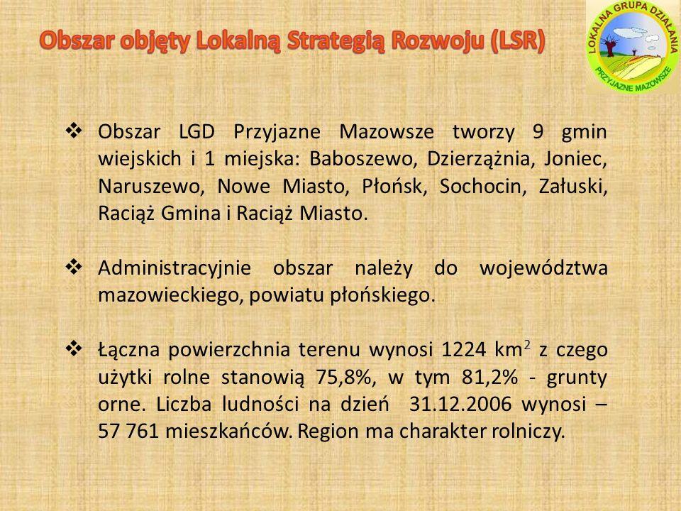 Obszar LGD Przyjazne Mazowsze tworzy 9 gmin wiejskich i 1 miejska: Baboszewo, Dzierzążnia, Joniec, Naruszewo, Nowe Miasto, Płońsk, Sochocin, Załuski, Raciąż Gmina i Raciąż Miasto.
