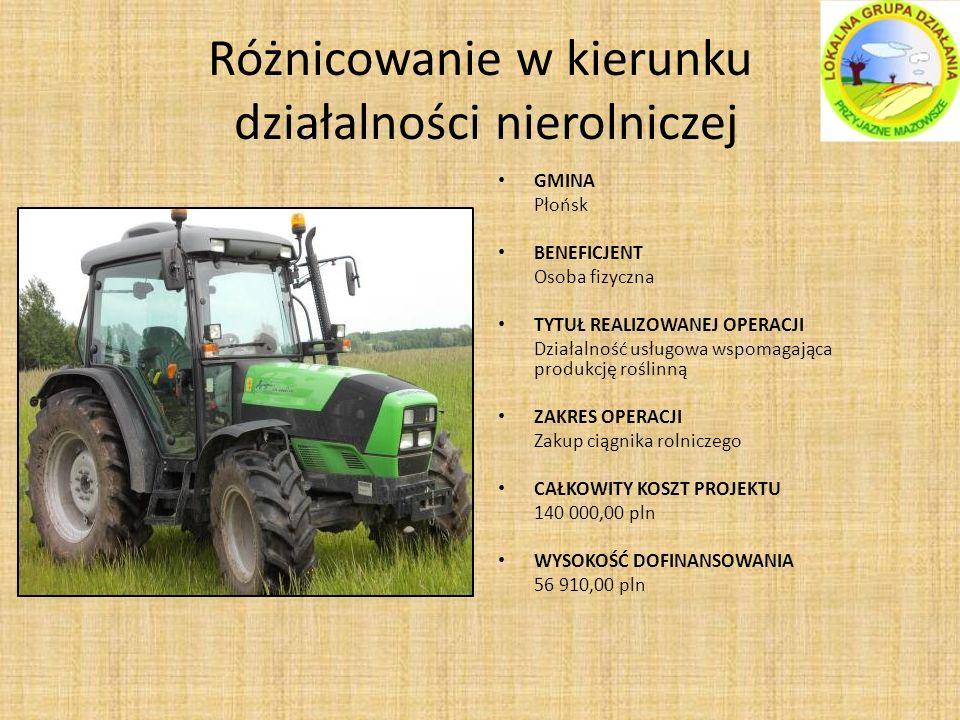 Różnicowanie w kierunku działalności nierolniczej GMINA Płońsk BENEFICJENT Osoba fizyczna TYTUŁ REALIZOWANEJ OPERACJI Działalność usługowa wspomagająca produkcję roślinną ZAKRES OPERACJI Zakup ciągnika rolniczego CAŁKOWITY KOSZT PROJEKTU 140 000,00 pln WYSOKOŚĆ DOFINANSOWANIA 56 910,00 pln