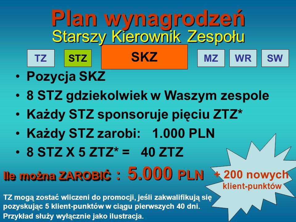 SKZ TZMZWRSW Starszy Kierownik Zespołu Pozycja SKZ 8 STZ gdziekolwiek w Waszym zespole Każdy STZ sponsoruje pięciu ZTZ* Każdy STZ zarobi: 1.000 PLN 8