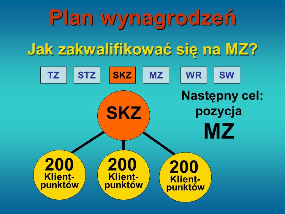 STZTZSKZMZWRSW 200 Klient- punktów SKZ Następny cel: pozycja MZ Jak zakwalifikować się na MZ? 200 Klient- punktów 200 Klient- punktów Plan wynagrodzeń