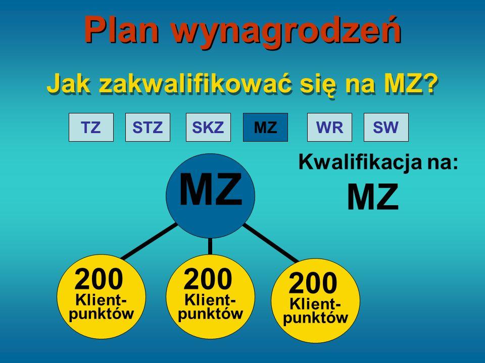 STZTZMZ WRSWSKZ MZ Kwalifikacja na: MZ Jak zakwalifikować się na MZ? 200 Klient- punktów 200 Klient- punktów 200 Klient- punktów Plan wynagrodzeń