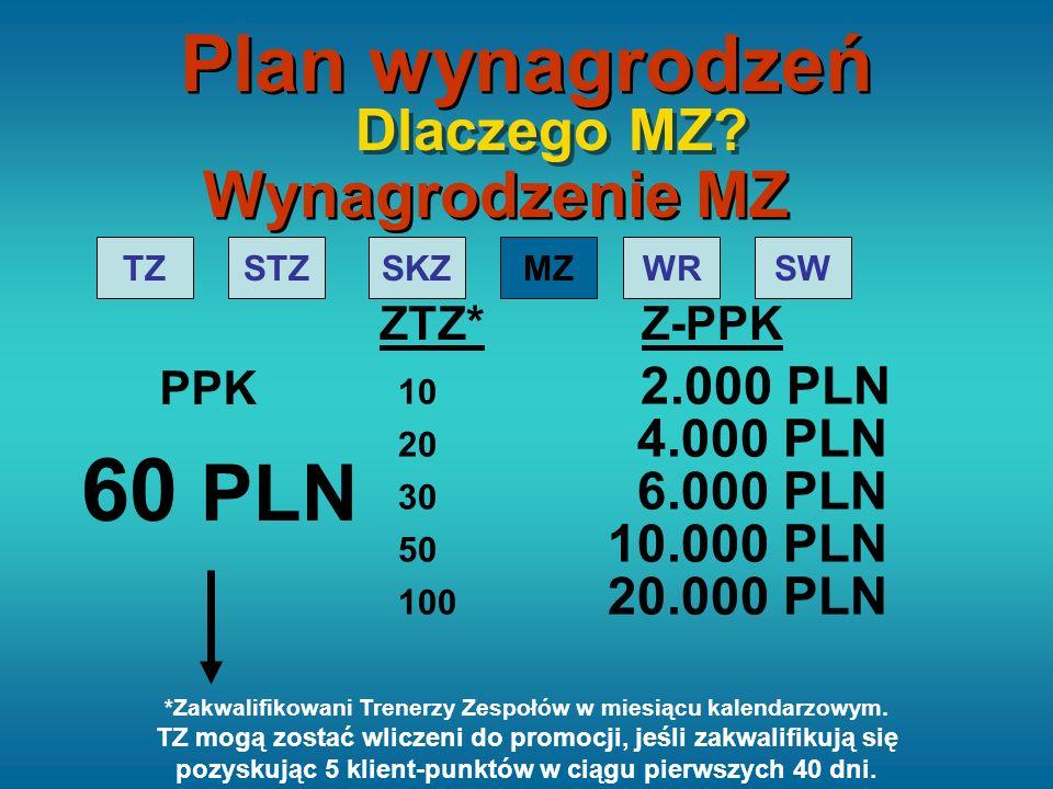 TZSTZSKZMZWRSW 20 4.000 PLN 30 6.000 PLN 50 10.000 PLN 100 20.000 PLN ZTZ* Z-PPK Wynagrodzenie MZ Dlaczego MZ? 10 2.000 PLN PPK 60 PLN Plan wynagrodze