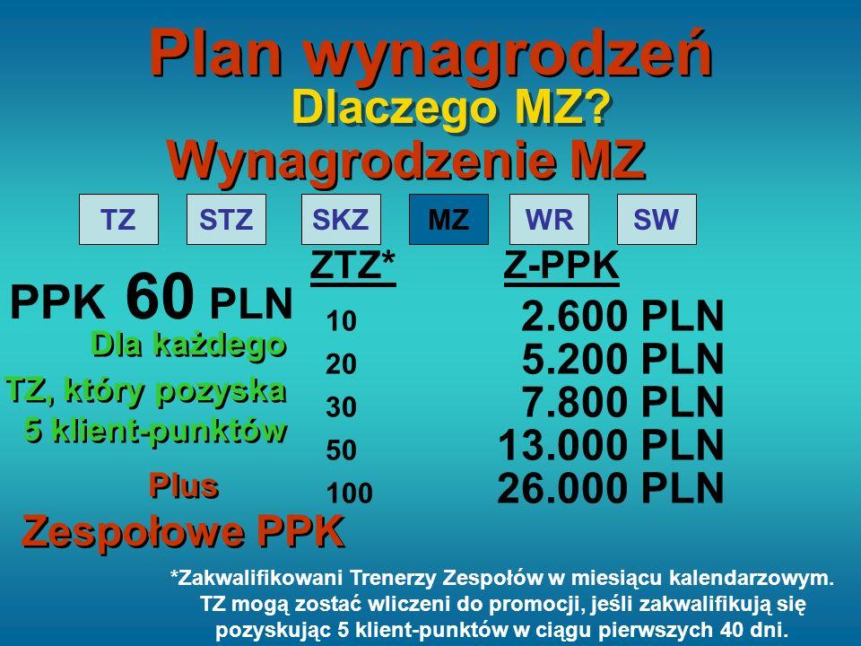 TZSTZSKZMZWRSW 20 5.200 PLN 30 7.800 PLN 50 13.000 PLN 100 26.000 PLN ZTZ*Z-PPK Wynagrodzenie MZ Dlaczego MZ? 10 2.600 PLN PPK 60 PLN Dla każdego TZ,