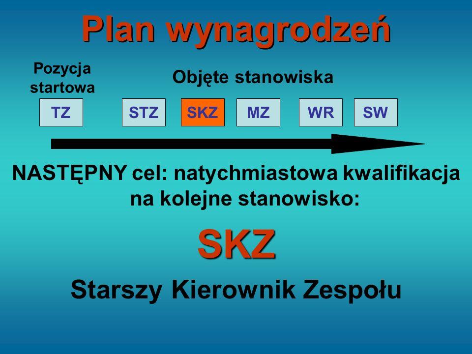 NASTĘPNY cel: natychmiastowa kwalifikacja na kolejne stanowisko:SKZ Starszy Kierownik Zespołu STZTZSKZMZWRSW Pozycja startowa Objęte stanowiska Plan w