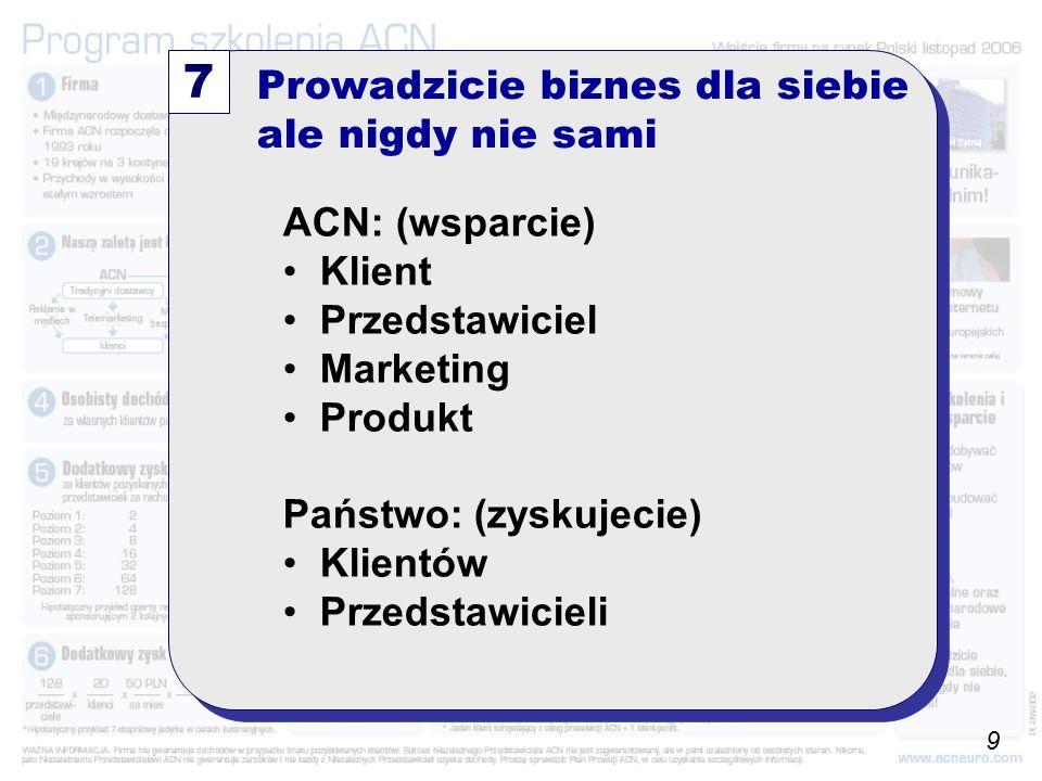Prowadzicie biznes dla siebie ale nigdy nie sami 7 ACN: (wsparcie) Klient Przedstawiciel Marketing Produkt Państwo: (zyskujecie) Klientów Przedstawicieli 9
