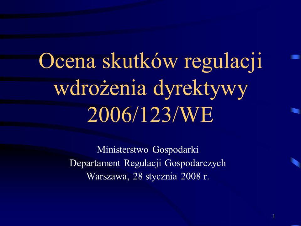 1 Ocena skutków regulacji wdrożenia dyrektywy 2006/123/WE Ministerstwo Gospodarki Departament Regulacji Gospodarczych Warszawa, 28 stycznia 2008 r.