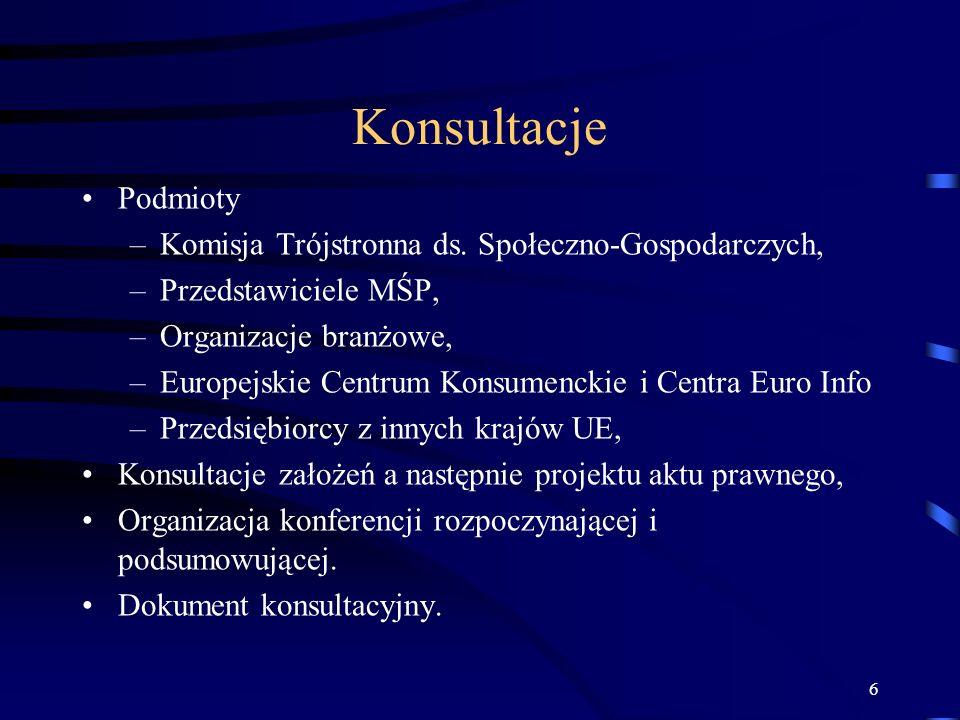 6 Konsultacje Podmioty –Komisja Trójstronna ds. Społeczno-Gospodarczych, –Przedstawiciele MŚP, –Organizacje branżowe, –Europejskie Centrum Konsumencki