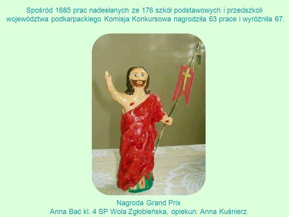 Nagroda Grand Prix Anna Bać kl. 4 SP Wola Zgłobieńska, opiekun: Anna Kuśnierz Spośród 1685 prac nadesłanych ze 176 szkół podstawowych i przedszkoli wo