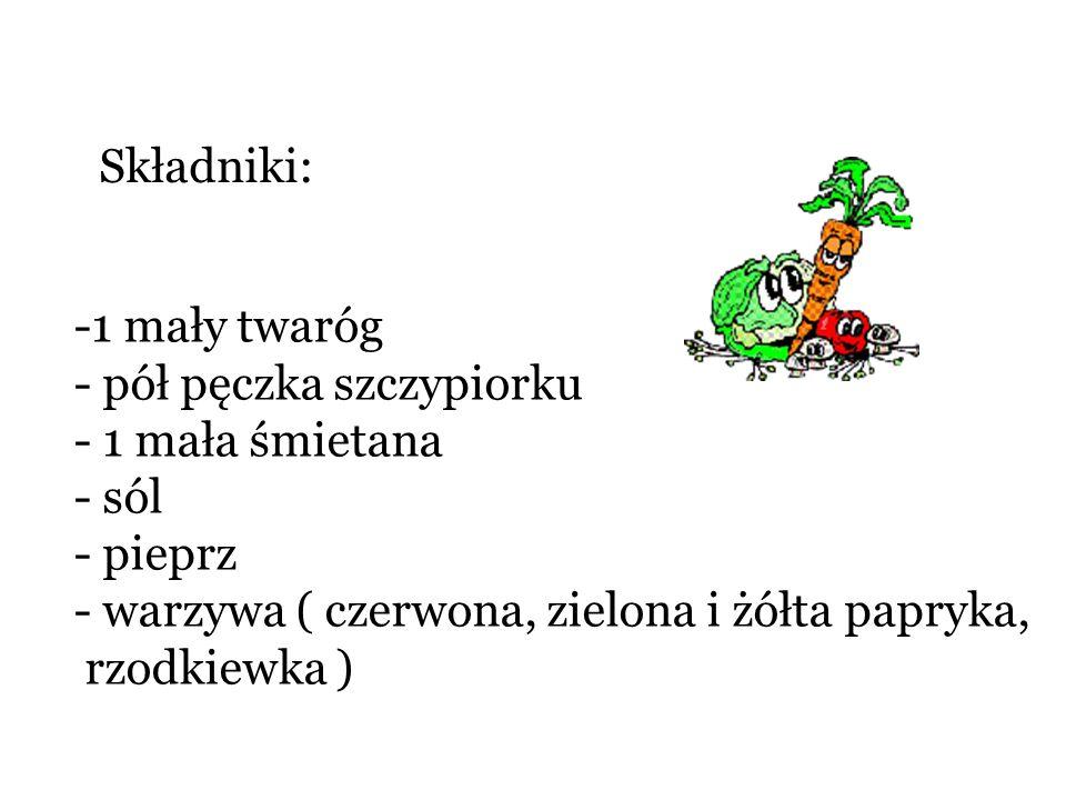 Składniki: -1 mały twaróg - pół pęczka szczypiorku - 1 mała śmietana - sól - pieprz - warzywa ( czerwona, zielona i żółta papryka, rzodkiewka )