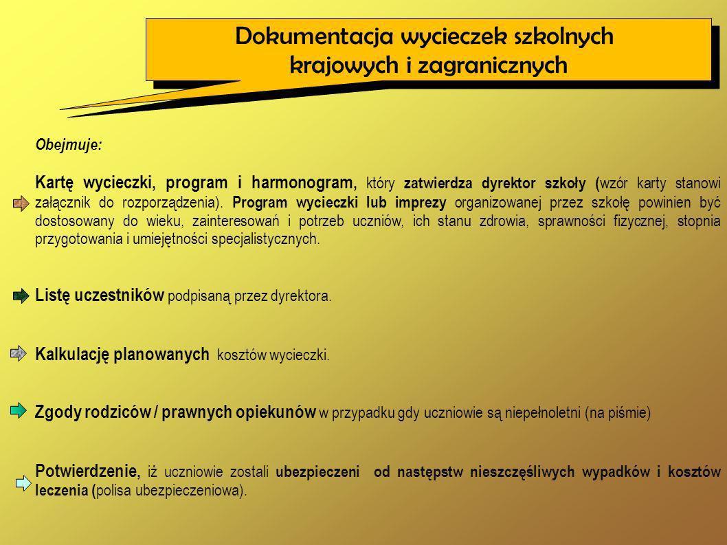 Obejmuje: Kartę wycieczki, program i harmonogram, który zatwierdza dyrektor szkoły ( wzór karty stanowi załącznik do rozporządzenia). Program wycieczk