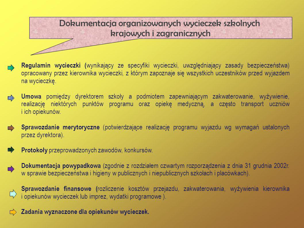 Dokumentacja organizowanych wycieczek szkolnych krajowych i zagranicznych Regulamin wycieczki ( wynikający ze specyfiki wycieczki, uwzględniający zasa