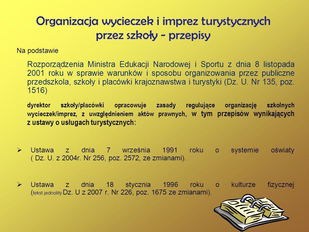 Organizacja wycieczek i imprez turystycznych przez szkoły - przepisy Na podstawie Rozporządzenia Ministra Edukacji Narodowej i Sportu z dnia 8 listopa