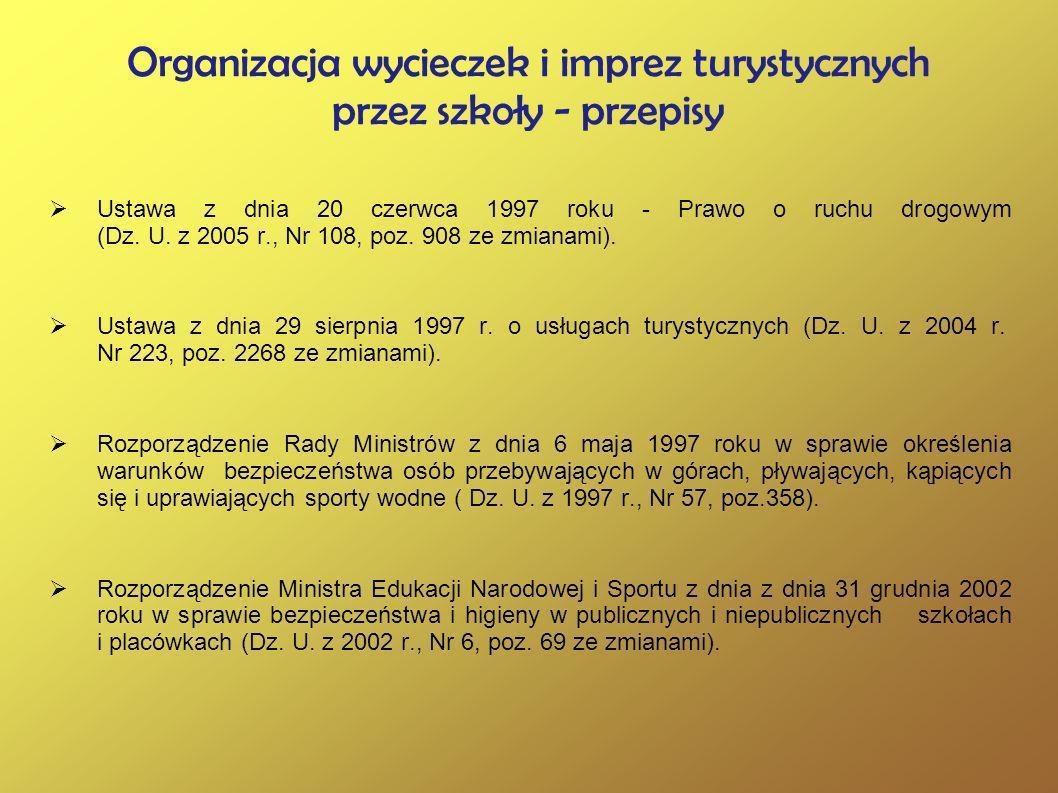 Organizacja wycieczek i imprez turystycznych przez szkoły - przepisy Ustawa z dnia 20 czerwca 1997 roku - Prawo o ruchu drogowym (Dz. U. z 2005 r., Nr