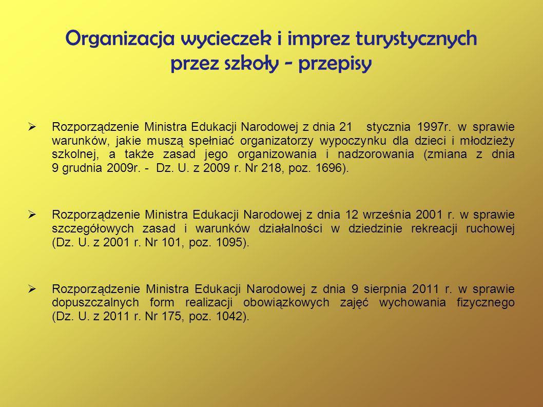 Organizacja wycieczek i imprez turystycznych przez szkoły - przepisy Rozporządzenie Ministra Edukacji Narodowej z dnia 21stycznia 1997r. w sprawie war