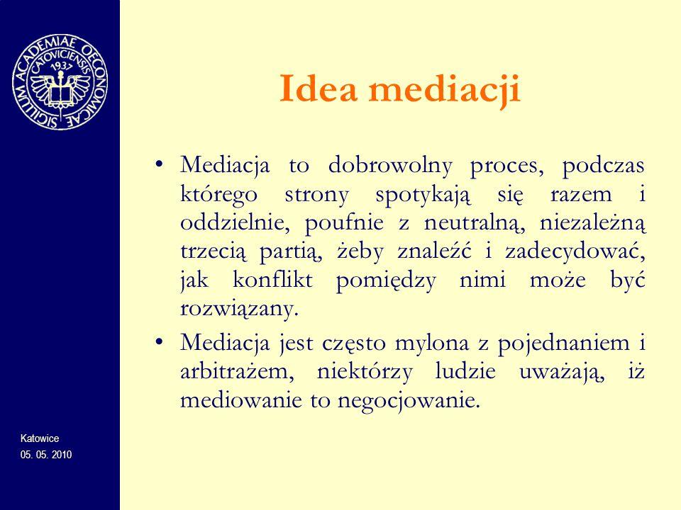Idea mediacji Mediacja to dobrowolny proces, podczas którego strony spotykają się razem i oddzielnie, poufnie z neutralną, niezależną trzecią partią,