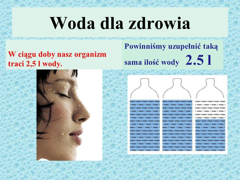 Woda dla zdrowia W ciągu doby nasz organizm traci 2,5 l wody.