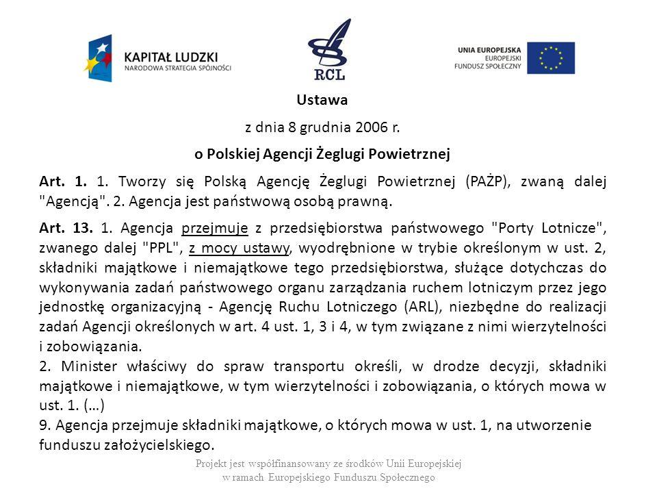 Ustawa z dnia 8 grudnia 2006 r. o Polskiej Agencji Żeglugi Powietrznej Art. 1. 1. Tworzy się Polską Agencję Żeglugi Powietrznej (PAŻP), zwaną dalej