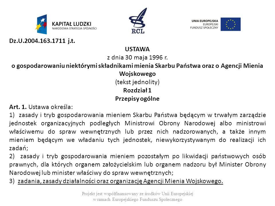 Projekt jest współfinansowany ze środków Unii Europejskiej w ramach Europejskiego Funduszu Społecznego Dz.U.2004.163.1711 j.t. USTAWA z dnia 30 maja 1