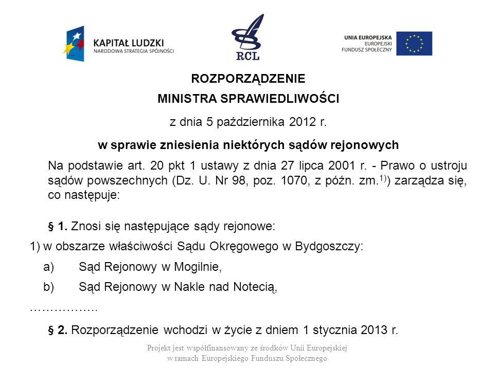 ROZPORZĄDZENIE MINISTRA SPRAWIEDLIWOŚCI z dnia 5 października 2012 r. w sprawie zniesienia niektórych sądów rejonowych Na podstawie art. 20 pkt 1 usta