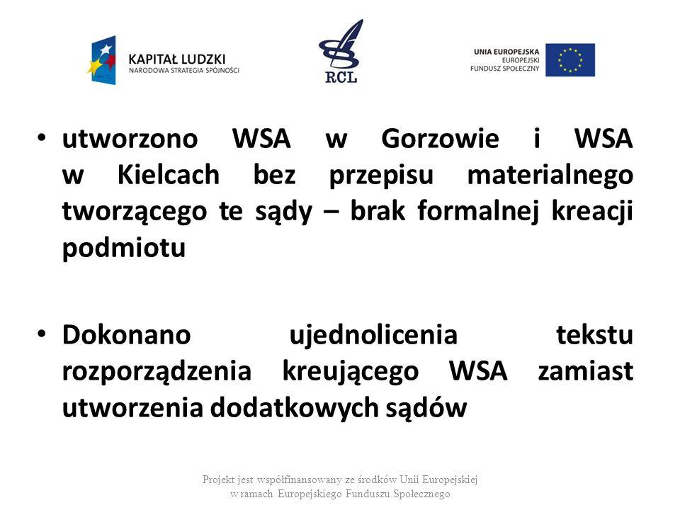 Projekt jest współfinansowany ze środków Unii Europejskiej w ramach Europejskiego Funduszu Społecznego utworzono WSA w Gorzowie i WSA w Kielcach bez przepisu materialnego tworzącego te sądy – brak formalnej kreacji podmiotu Dokonano ujednolicenia tekstu rozporządzenia kreującego WSA zamiast utworzenia dodatkowych sądów